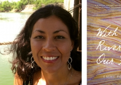 Poet Emmy Pérez jutxaposed with the cover of her book With the River on Our Face