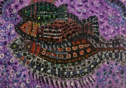 A painting of three fishes stacked on one another, composed using a kind of brutish pointillism