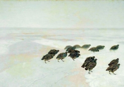 A painting of partridges walking across a snowy landscape