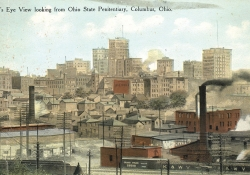 A postcard view looking out from Ohio State Penitentiary