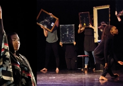 Dancers interact with a number of picture frames