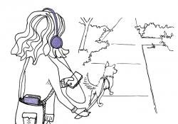 A sprightly illustration of a woman walking her dog while listening to a podcast on her headphones.