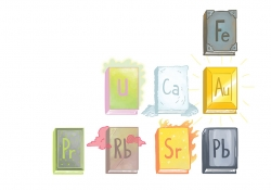 A drawing of books laid out like a portion of the periodic table, each book exhibiting aspects of the element it represents