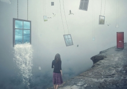 A digital illustration by Michael Manalo. A female walks away from the viewer along a cliff's edge towards a red door. Windows hang in the sky nearby, the largest of which is gushing water.