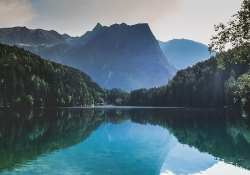 A panoramic shot of Piburger Lake in Austria