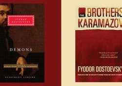 The covers to Fyodor Dostoevsky's Demons and the Brother Karamazov juxtaposed side by side