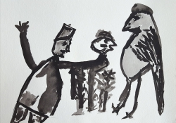A blunt ink and water painting of a man offering a bird's head to a large bird figure