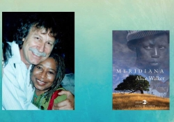 A photo fo Manuel García Verdecia hugging Alice Walker juxtaposed with the cover to her translated novel Merediana
