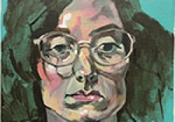 An oil painting of contributor Bailey Hoffner