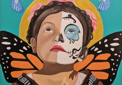 A painting of a childlike figure, hands clasped in front of them in prayer while looking up. A pair of butterfly wings emerge from the back and the face is half-painted like a sugar skull