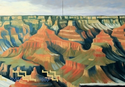 An oil painting of mesas and bluffs