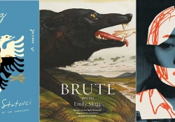 The covers to Pajtim Statovci's Crossing, Emily Skaja's Brute, and Yoko Ogawa's The Memory Police
