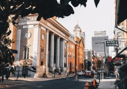 A photograph of downtown Philadelphia shot from the street