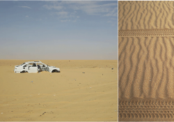 Two photos combined in one image. On the left, a car is buried in sand. On the right, tire tracks running left to right through sand.