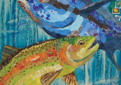 A mixed media painting of a blue and a yellow fish