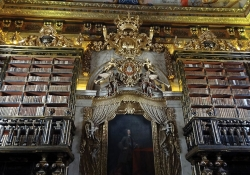 Two large, ornate and wooden bookcases flanking a gilded door