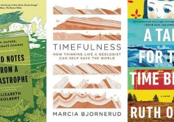 The cover to three books chosen by readers to understand climate change