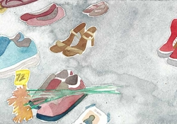 A watercolor painting of a number of pair of shoes against a grey background