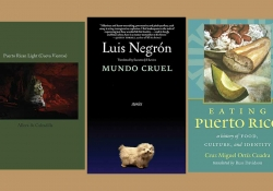 The covers to the three books discussed in the article below juxtaposed on a tan background