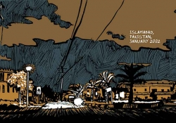 A stylized drawing of a street in Islamabad. Text reads: Islamabad, Pakistan. January, 2002.