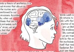 A comics panel featuring a human head in its center with the brain made visible