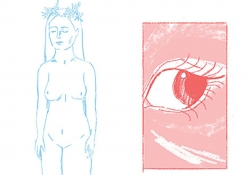 A delicate line drawing in blue of a nude female form juxtaposed with a panel in red of a human eye
