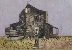 An illustration of a farm house with a face emerging from the door