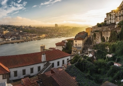 An aerial shot of Porto in Portugal