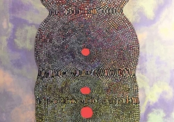 An abstract painted figure composed of small circles in a vaguely humanoid shape with three small red circle aligned down the center