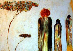 A painting of three abstract, multicolored figures beneath a spindly tree