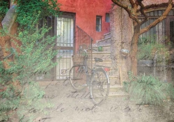 A digitally manipulated photograph of a bicycle parked in front of a set of stairs that lead into a red house. A translucent parchment with ink writing sits as a palimpsest over the image.