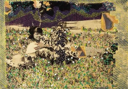 A mixed media image with a sepia toned image of a young African-American woman reclining in a field. The photograph is enhanced with pointillist fields of color