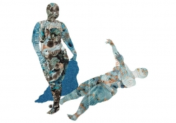 A collage image that forms two human body like figures, one standing, one prone, suggesting the shadow of the standing figure