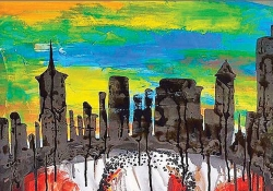 A detail from a painting. The detail displays a city skyline in silhouette, beneath a pastel sky. Black roots stretch below the skyline into a field of white and red