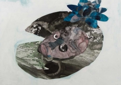 A detail from a larger collage. This detail features a surreal human face nestled within a field resembling a lily pad