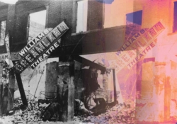 A black and white photograph of the Dreamland theatre sign in wreckage juxtaposed with the same image but in sun-damaged colors