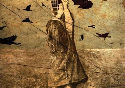 A surreal sepia-toned illustration of a small girl reaching up to try and repair a crack in the world. Black birds in flight dot the foreground and background