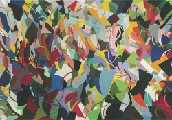 An abstract painting featuring brightly colored organic shapes overlapping