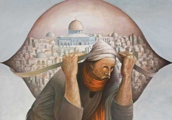 An illustration of a man carrying a heavy burden on his back with the city of Al Aqsa superimposed on the bag he's carrying