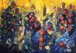 A painting showing a Christ-figure, carrying his cross through Jerusalem, with Palestinians on one side of him and Israeli soldiers in modern dress with guns on the other
