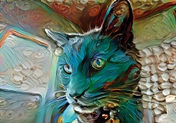 A photograph of a cat digitally altered to look surreal