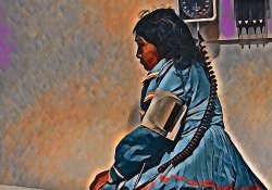 A painting of an indigenous woman in traditional dress sitting on a medical examination bed with a blood pressure cuff on her arm