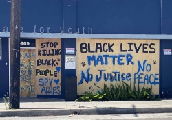 Spray painted words adorn the side of a boarded up building. Text reads: Stop killing black people. Black Lives Matter. No justice. No peace.