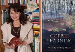A photograph of Kimberly Blaeser juxtaposed with the cover to her book, Copper Yearning