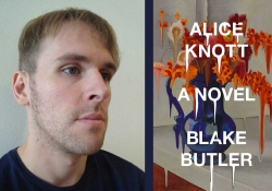 A photograph of Blake Butler juxtaposed with the cover to his book, Alice Knott