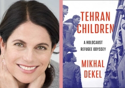 A photograph of Mikhal Dekhel jutxaposed with the cover to her book Tehran's Children