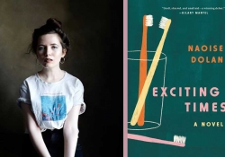 A photo of Naoise Dolan juxtaposed with the cover to her book Exciting Times