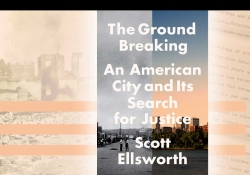 The cover to Scott Ellsworth's The Ground Breaking superimposed over a typewritten eyewitness account of the massacre