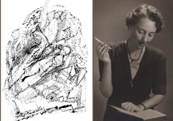 A drawing by Lea Goldberg juxtaposed with a photo with author