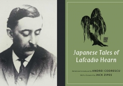 A photo of Lafcadio Hearn juxtaposed with the cover to his book The Japanese Tales of Lafcadio Hearn